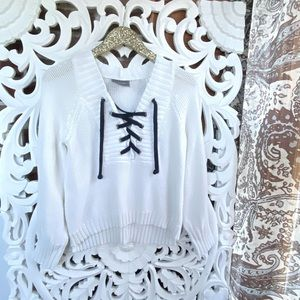 Wooden Ships Knit Laced Sweater
